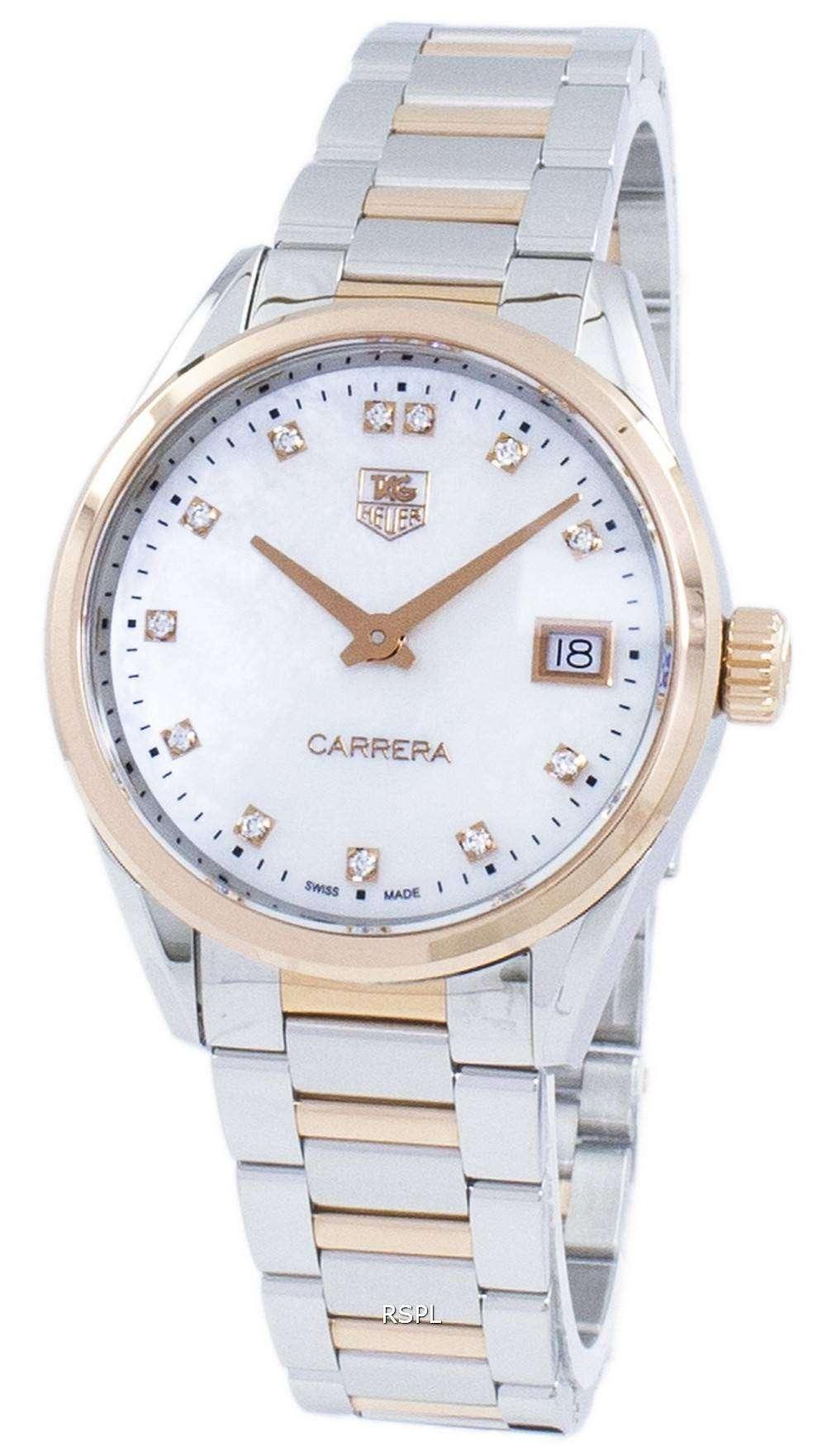 タグ ・ ホイヤー カレラ水晶ダイヤモンド アクセント WAR1352。BD0779 レディース腕時計
