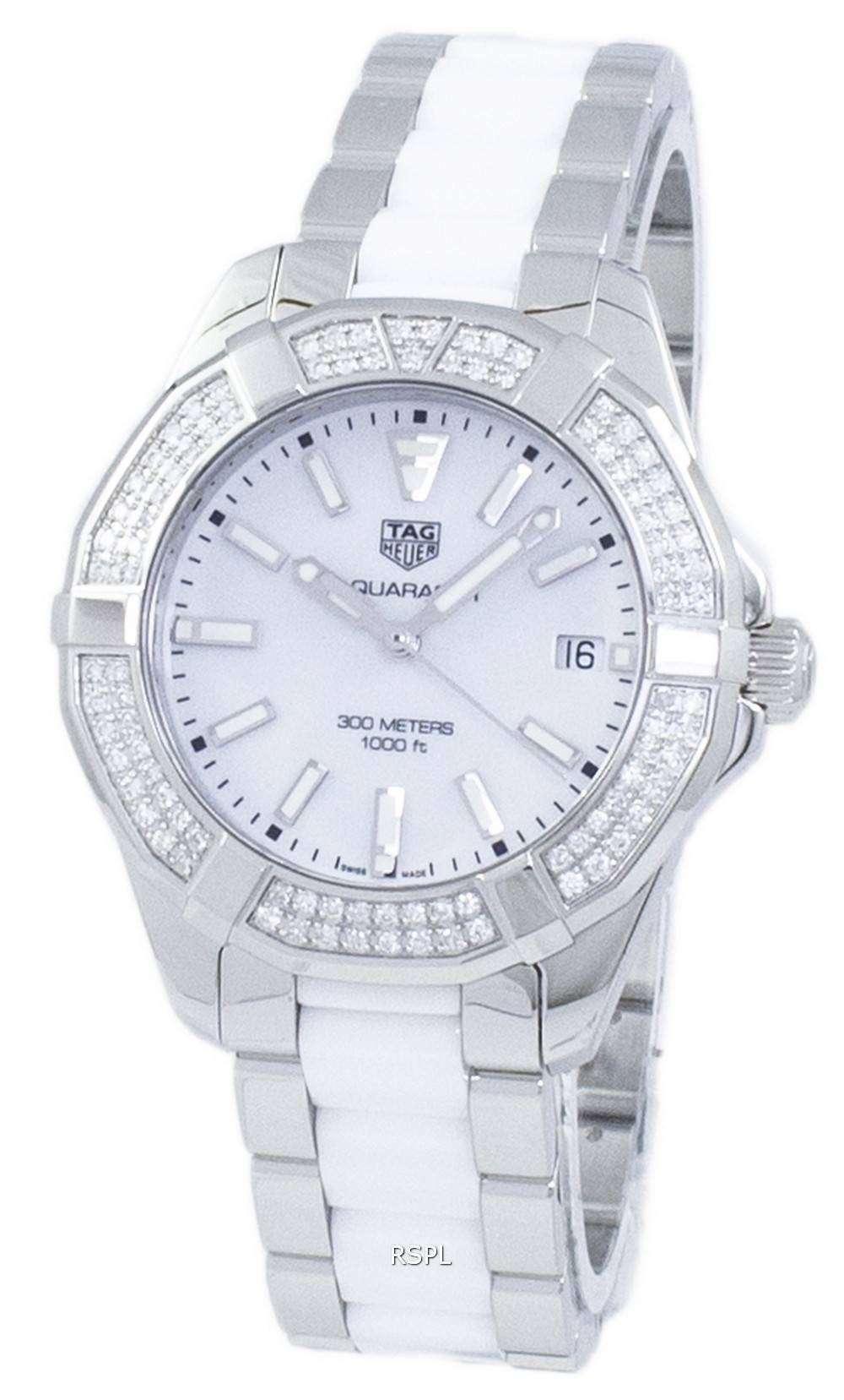 タグ ・ ホイヤー アクア レーサー クォーツ 300 M ダイヤモンド アクセント WAY131F。BA0914 レディース腕時計