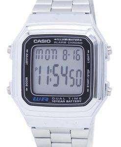 カシオ デジタル ステンレス クロノ デュアル アラーム時間 A178WA 1ADF A178WA 1 a メンズ腕時計