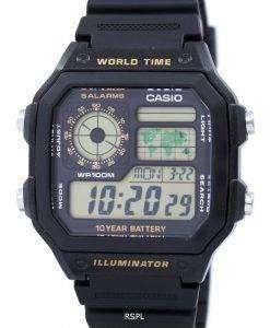 カシオ青年シリーズ デジタル世界時 AE 1200WH 1BVDF AE 1200WH 1BV メンズ腕時計