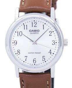 カシオ水晶シルバー ダイアル ブラウン レザー MTP 1095E 7BDF MTP 1095E 7B メンズ腕時計