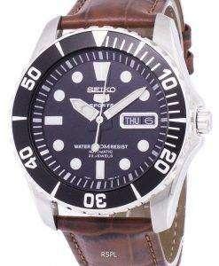 セイコー 5 スポーツ自動比茶色の革 SNZF17K1 LS7 メンズ腕時計