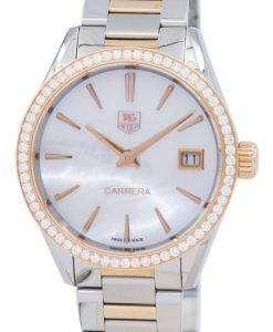 タグ ・ ホイヤー カレラ水晶ダイヤモンド アクセント WAR1353。BD0779 レディース腕時計
