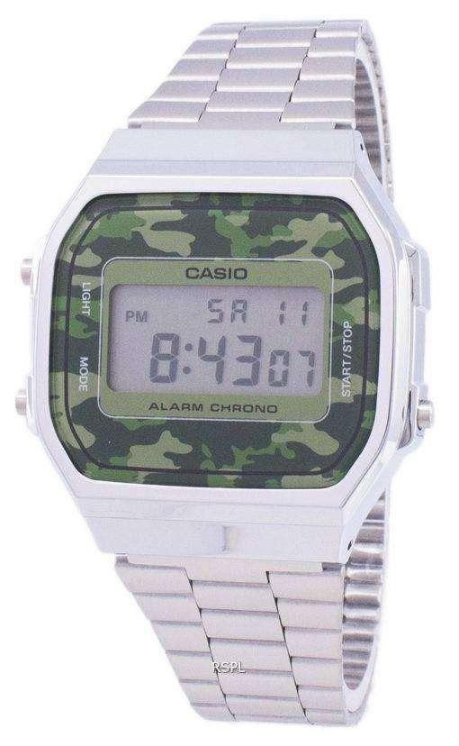 カシオ レトロ デジタル迷彩アラーム クロノ A168WEC 3EF ユニセックス腕時計