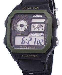 カシオ青年シリーズ デジタル世界時 AE 1200WHB 1BVDF AE 1200WHB 1BV メンズ腕時計