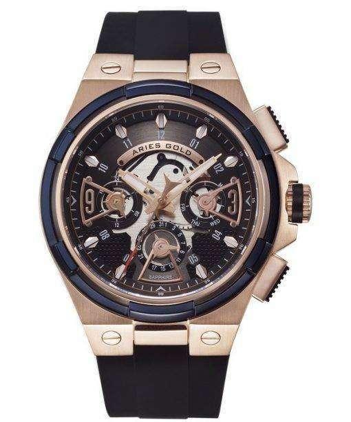 牡羊座金刺激雷水晶 G 7003 2TRB BKRG メンズ腕時計