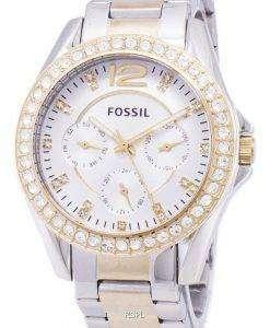 化石のライリー多機能シルバー、ゴールド トーン クリスタル ダイヤル ES3204 レディース腕時計