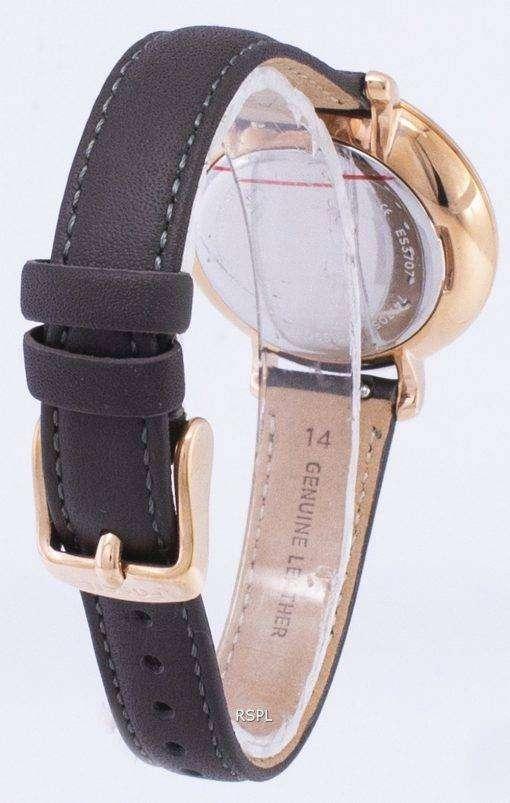 化石ジャクリーン石英グレーの革 ES3707 レディース腕時計