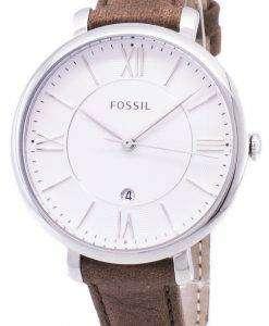 化石ジャクリーン シルバー ダイヤル タン革ストラップ ES3708 レディース腕時計