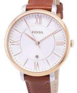 化石ジャクリーン シルバー ダイアル ブラウン レザー ES3842 レディース腕時計