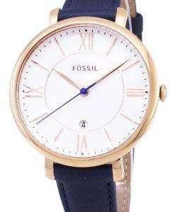 化石ジャクリーン シルバー ダイヤル紺革 ES3843 レディース腕時計