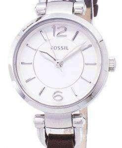 化石グルジア シルバー ダイアル ブラウン レザー ES3861 レディース腕時計