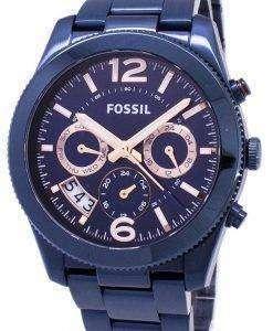 化石の完璧な彼氏多機能デュアル タイム石英 ES4093 レディース腕時計