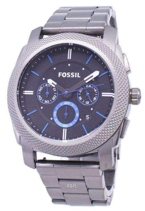 化石マシン クォーツ クロノグラフ ブラック ダイアル ガンメタル イオン メッキ FS4931 メンズ腕時計