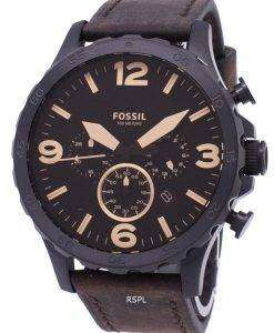 化石ネイト クロノグラフ ブラウン レザー JR1487 メンズ腕時計
