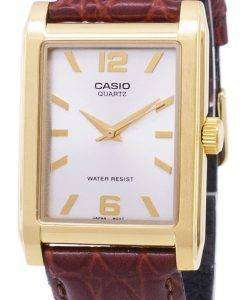 カシオ Enticer 石英アナログ シルバー ダイヤル MTP 1235GL 7ADF MTP 1235GL 7A メンズ レザー腕時計