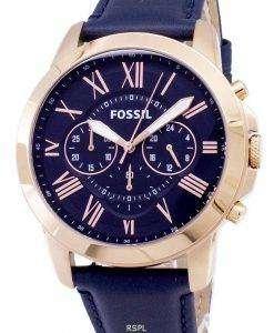 化石を与えるクロノグラフ ブルー革ストラップ FS4835 メンズ腕時計