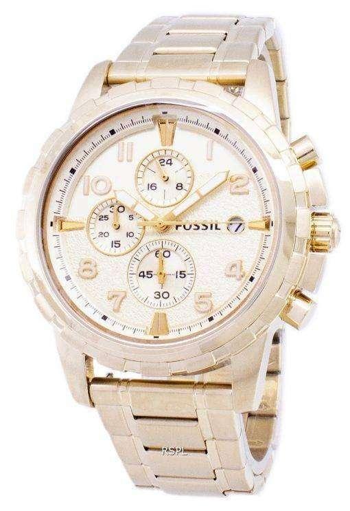 化石ディーン クロノグラフ ゴールド トーン ステンレス鋼 FS4867 メンズ腕時計