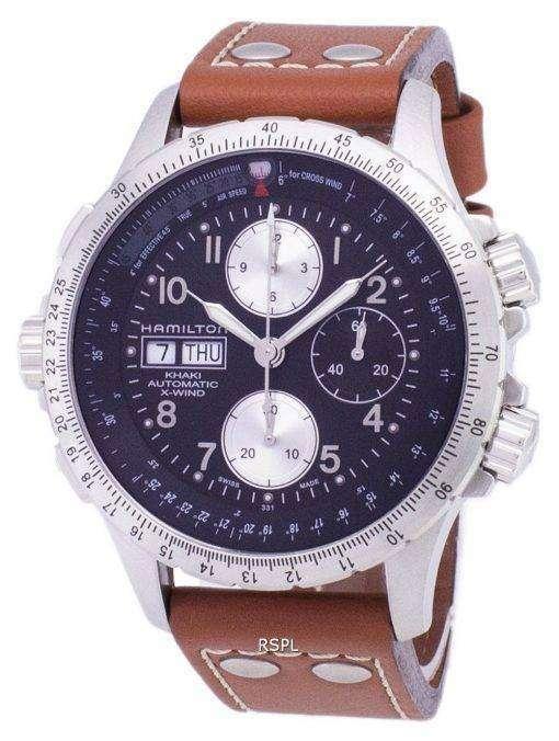 ハミルトン カーキ x-ウィンド オートマティック クロノグラフ H77616533 メンズ腕時計