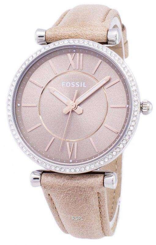 化石 3 針カーリエ石英砂ダイヤモンド アクセント ES4343 レディース腕時計