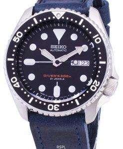 水色の革ストラップ メンズ腕時計セイコー自動 SKX007J1 LS13 ダイバー 200 M 日本