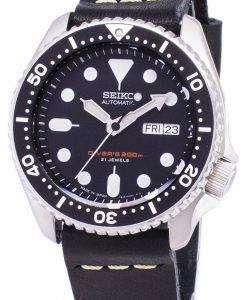黒革ストラップ メンズ腕時計セイコー自動 SKX007J1 LS14 ダイバー 200 M 日本