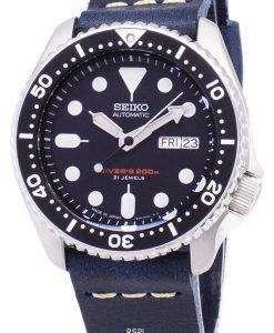 ダークブルーのレザー ストラップ メンズ腕時計セイコー自動 SKX007J1 LS15 ダイバー 200 M 日本