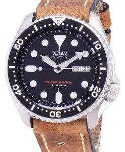 茶色の革ストラップ メンズ腕時計セイコー自動 SKX007J1 LS17 ダイバー 200 M 日本