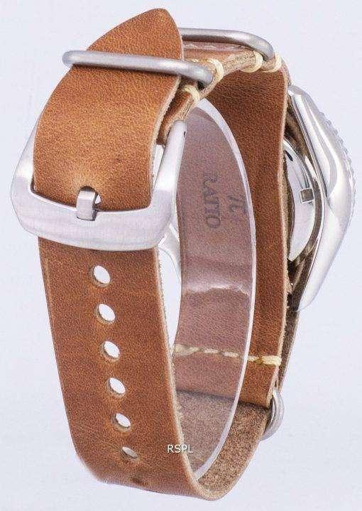 茶色の革ストラップ メンズ腕時計セイコー自動 SKX007J1 LS18 ダイバー 200 M 日本