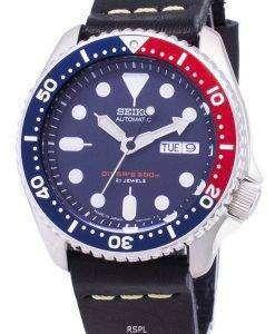 黒革ストラップ メンズ腕時計セイコー自動 SKX009J1 LS14 ダイバー 200 M 日本