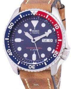 茶色の革ストラップ メンズ腕時計セイコー自動 SKX009J1 LS17 ダイバー 200 M 日本