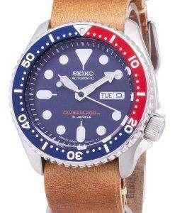 茶色の革ストラップ メンズ腕時計セイコー自動 SKX009J1 LS18 ダイバー 200 M 日本
