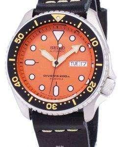 黒革ストラップ メンズ腕時計セイコー自動 SKX011J1 LS14 ダイバー 200 M 日本