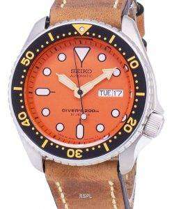 茶色の革ストラップ メンズ腕時計セイコー自動 SKX011J1 LS17 ダイバー 200 M 日本