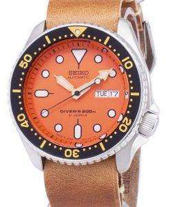 茶色の革ストラップ メンズ腕時計セイコー自動 SKX011J1 LS18 ダイバー 200 M 日本