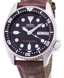 セイコー自動 SKX013K1 MS2 ダイバー 200 M 茶色の革ストラップ メンズ腕時計