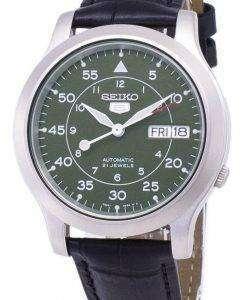セイコー 5 ミリタリー SNK805K2 SS1 自動黒革ストラップ メンズ腕時計