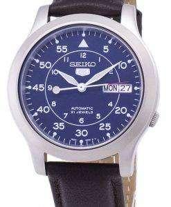 セイコー 5 ミリタリー SNK807K2 SS4 自動茶色の革ストラップ メンズ腕時計