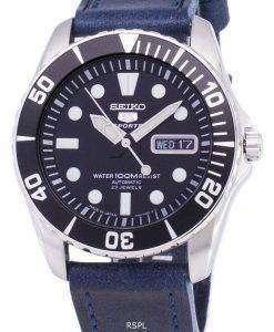 セイコー 5 スポーツ SNZF17J1 LS13 自動日本製暗い青いストラップ男性用の腕時計