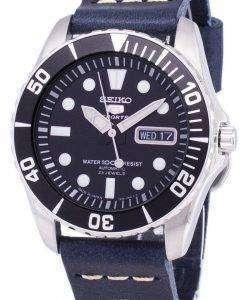 セイコー 5 スポーツ SNZF17J1 LS15 自動ダークブルーのレザー ストラップ メンズ腕時計