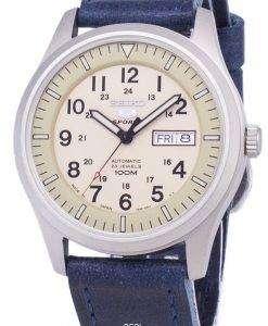 セイコー 5 スポーツ SNZG07J1 LS13 軍事日本製ダークブルーのレザー ストラップ メンズ腕時計