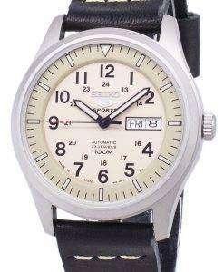 セイコー 5 スポーツ SNZG07J1 LS13 軍事日本製黒革ストラップ メンズ腕時計