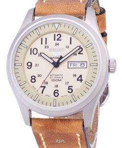セイコー 5 スポーツ SNZG07J1 LS17 軍事日本製ブラウン レザー ストラップ メンズ腕時計