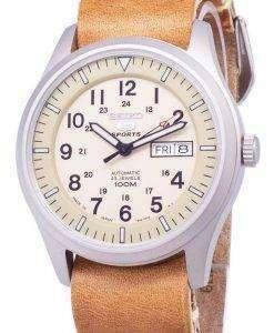 セイコー 5 スポーツ SNZG07J1 LS18 軍事日本製ブラウン レザー ストラップ メンズ腕時計
