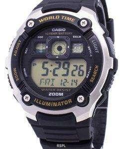 カシオ若者 AE 2000 w 9AV 照明器具 200 M デジタル メンズ腕時計