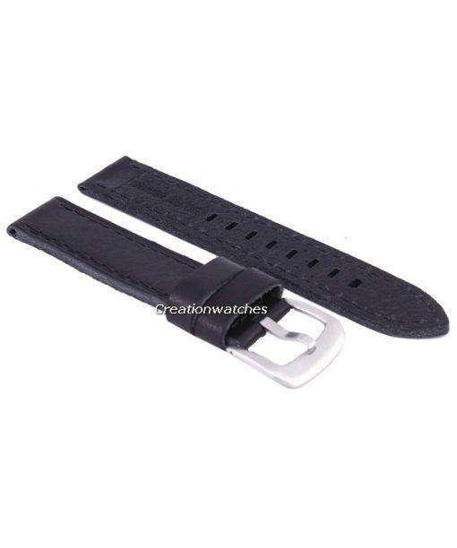 黒い比率ブランド革ストラップ 20 mm
