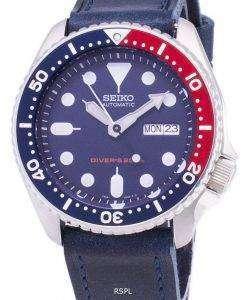 セイコー自動 SKX009K1 LS13 ダイバー 200 M ダークブルーのレザー ストラップ メンズ腕時計