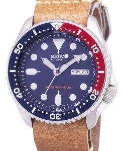 セイコー自動 SKX009K1 LS18 ダイバー 200 M 茶色の革ストラップ メンズ腕時計