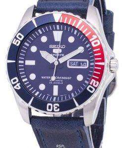 セイコー 5 スポーツ SNZF15K1 LS13 自動ダークブルーのレザー ストラップ メンズ腕時計