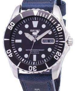 セイコー 5 スポーツ SNZF17K1 LS13 自動ダークブルーのレザー ストラップ メンズ腕時計